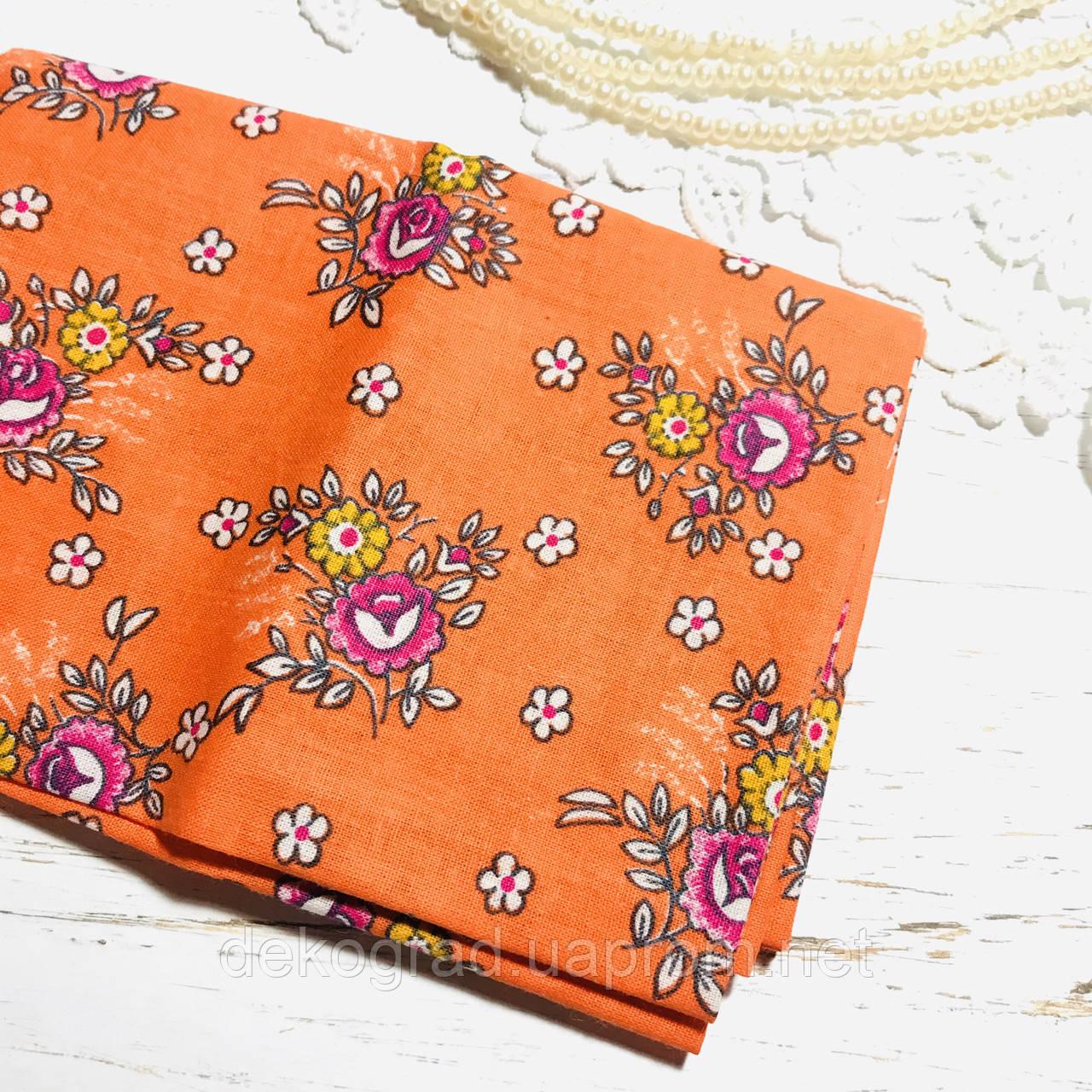 Ткань хлопок  45х55 см Цветы на оранжевом