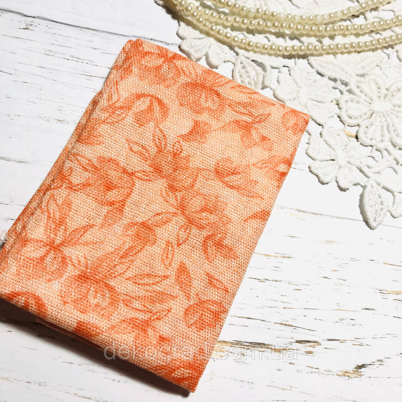 Ткань хлопок  45х55см Оранжевые цветы