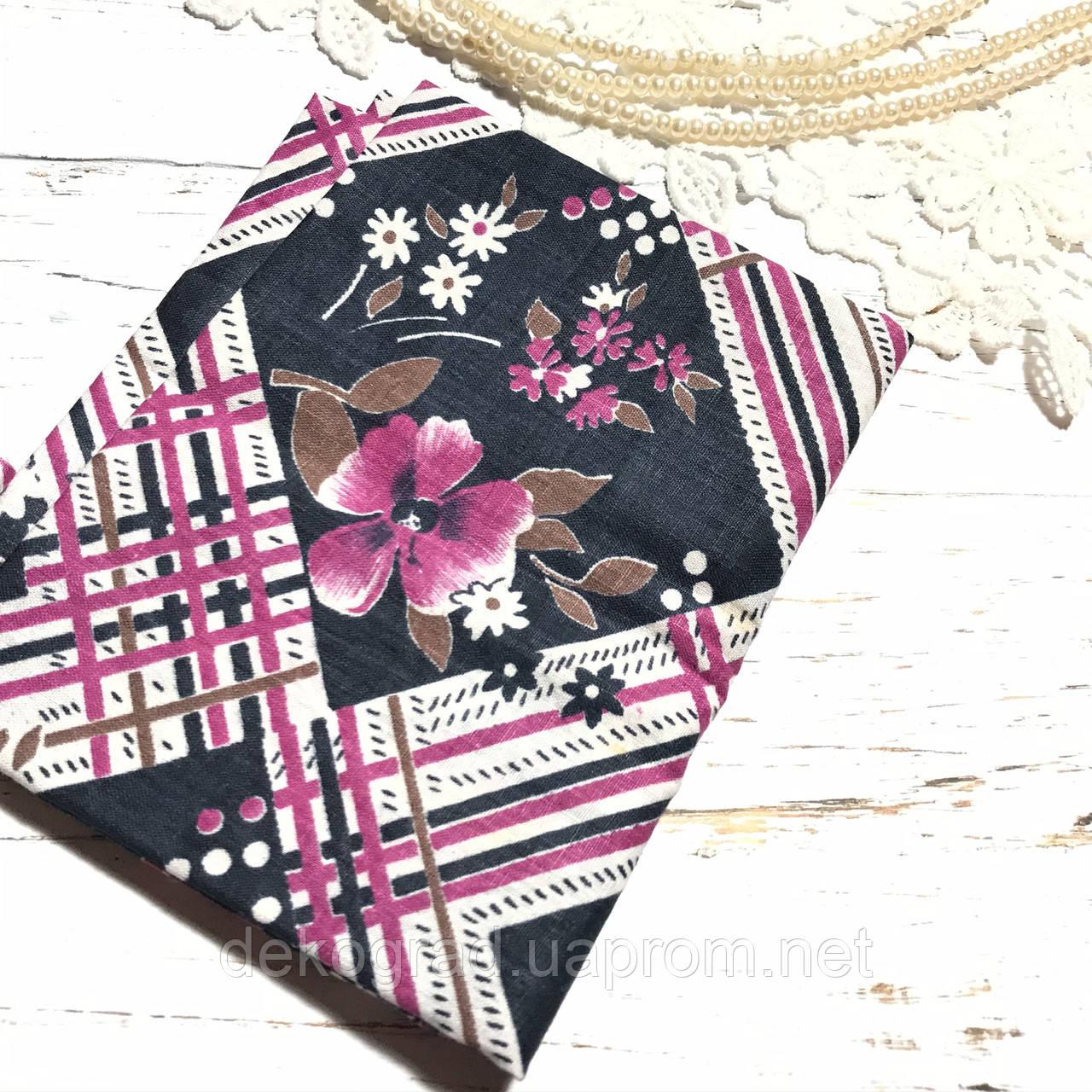 Ткань хлопок 61х46см Цветы и полосы