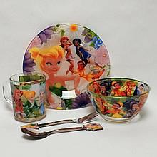 Дитячий набір скляного посуду для годування Фея Дінь-Дінь 5 предметів
