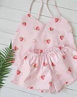 Пижама хлопковая женская с майкой и шортами Клубника