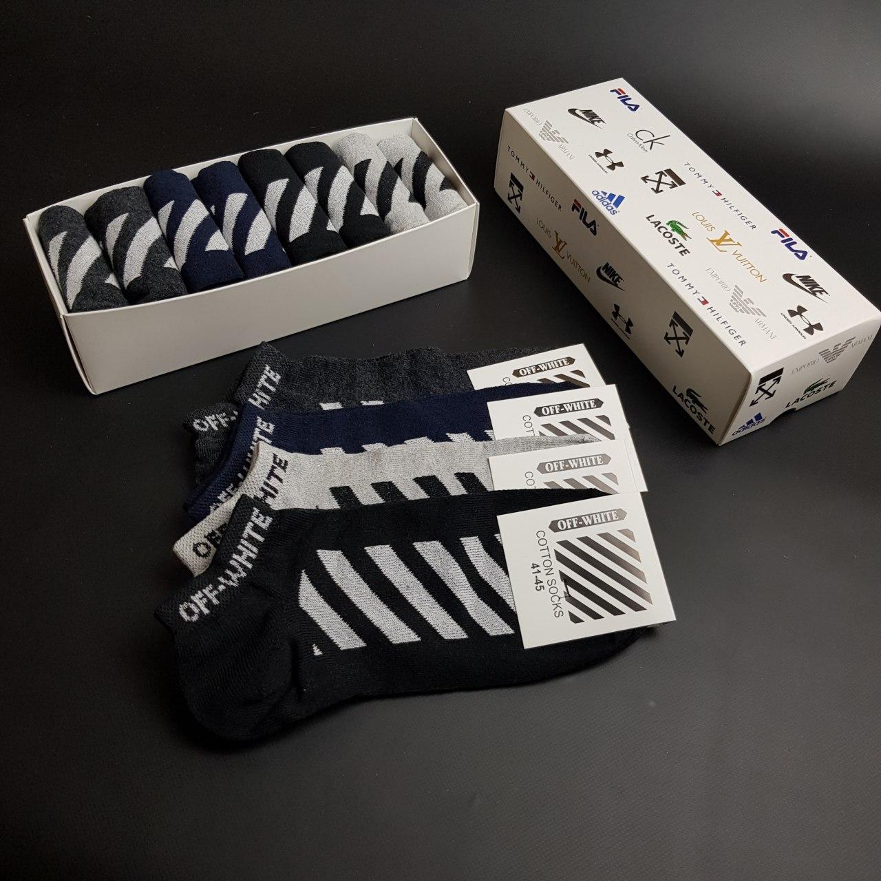 Набор коротких мужских носков OFF-WHITE 8 пар в подарочной упаковке! Реплика