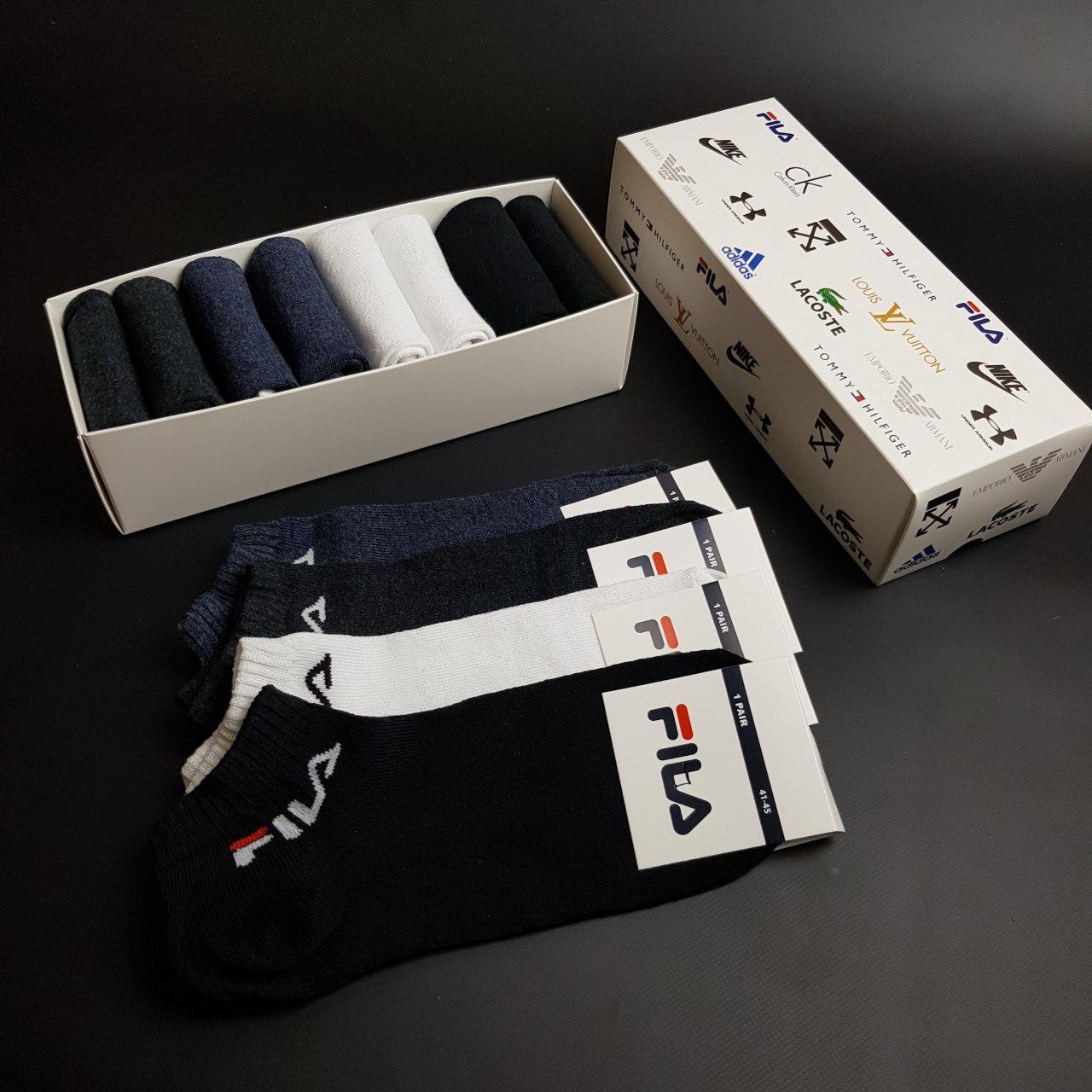 Набор коротких мужских носков  Fila 8 пар в подарочной упаковке! Реплика!