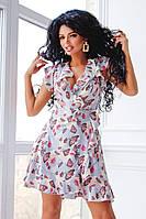 Платья на запах цветочный принт. Красивое короткое платье с запахом. Стильные и модные Платья с запахом.