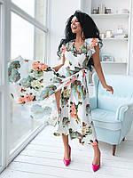 Платья на запах цветочный принт. Красивое платье длины миди с запахом. Стильные и модные Платья с запахом.