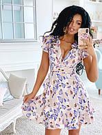 Платья на запах цветочный принт. Красивое короткое платье запахом. Стильные и модные Платья с запахом.