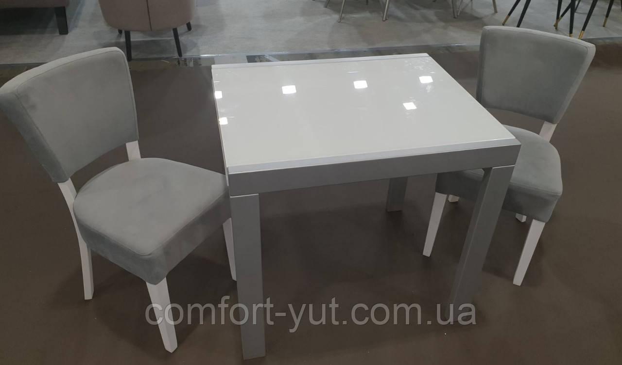 Стол обеденный Слайдер  Серый со стеклом Ультрабелый, 81,5(+81,5)*67см