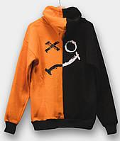 Худи унисекс Sad Smile черно-оранжевое