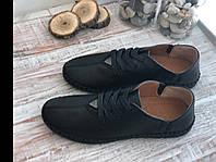 Мужские кожаные мокасины 19-034 чер размеры 41,43,44,45, фото 1