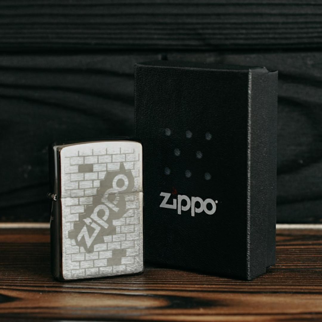 Зажигалка Zippo 200 Brushed Chrome серая 200502
