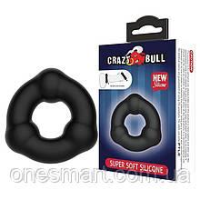 """Силиконовое эрекционное кольцо Crazy Bull """"SUPER SOFT TRIANGLE"""" от Baile, цвет черный"""