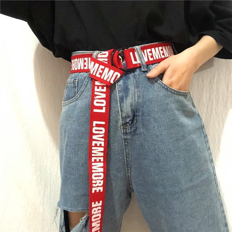 Длинный пояс женский красный тканевый ремень с надписью lovememore ретро винтажный в стиле 90-х