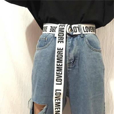 Длинный пояс женский белый тканевый ремень с надписью lovememore ретро винтажный в стиле 90-х