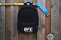 Чорний рюкзак в стилі UFC біле лого