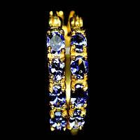 Срібні сережки-кільця з танзанітами