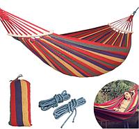 Мексиканский гамак 200 см на 90 см с поперечной планкой в мешочке, цветной