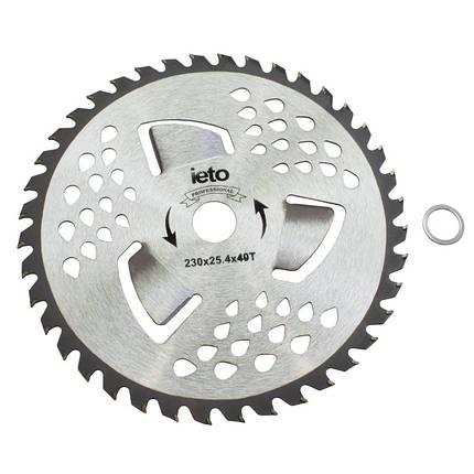 Ніж для тримера Brush Cutter Blade HD-0101 40Т (230 мм, 3 лопасті, побідитові напайки), фото 2