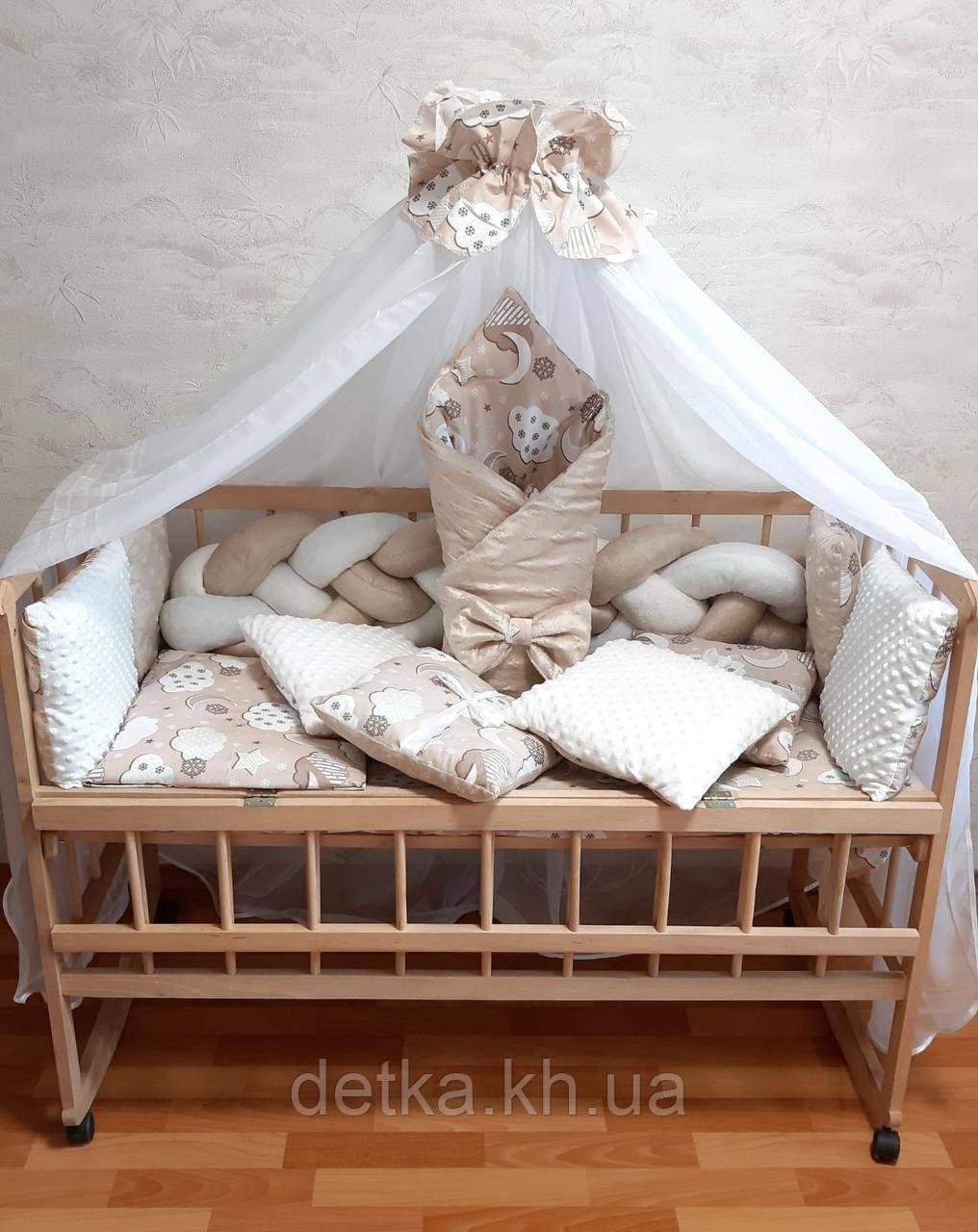 """Комплект """"постельный в детскую кроватку с конвертом"""", шоколадный"""