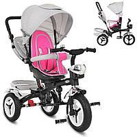Детский трехколесный велосипед TURBO TRIKE M 3200A-7 Серо-розовый | Велосипед-коляска Турбо Трайк