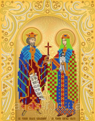 """А4 """"Св. Рівноап. Володимир і Ольга"""" схема для вишивки бісером іменний ікони"""