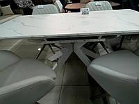 Раздвижной стол ТМL-630 белый под мрамор 160/200 Vetro Mebel