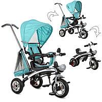 Детский трехколесный велосипед TURBO TRIKE M 3212A-1 Бирюза | Велосипед-беговел коляска Турбо Трайк