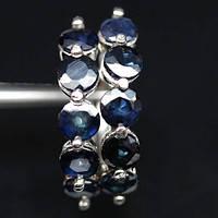 Срібні сережки-кільця з натуральними сапфірами