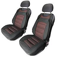 Майки-накидки на передние сиденья черно-бордовогого цвета