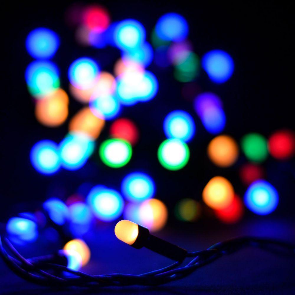 Уличная гирлянда нить 100 RGB LED 10 метров WIMPEX цветная, черный провод