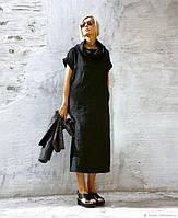 Офисное льняное платье прямого кроя с хомутом, фото 1