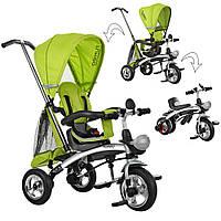 Детский трехколесный велосипед TURBO TRIKE M 3212A-3 Зеленый | Велосипед-беговел коляска Турбо Трайк