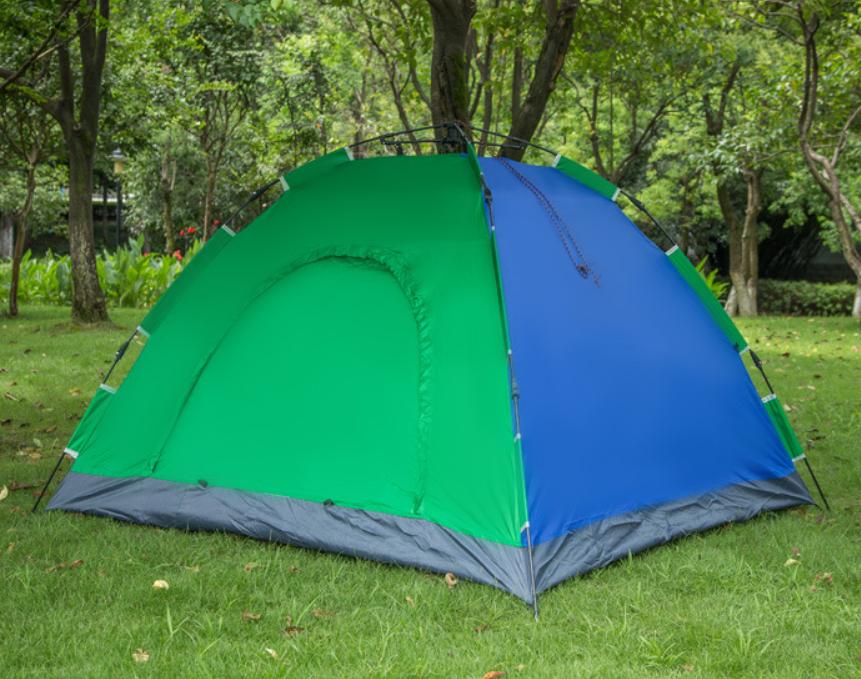 Туристическая палатка автомат  Leomax  2/2 метра, 4-х местная, Зеленая