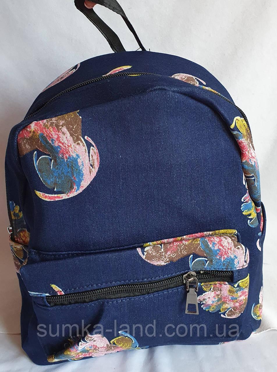 Женский джинсовый рюкзак в цветочек 21*26 см