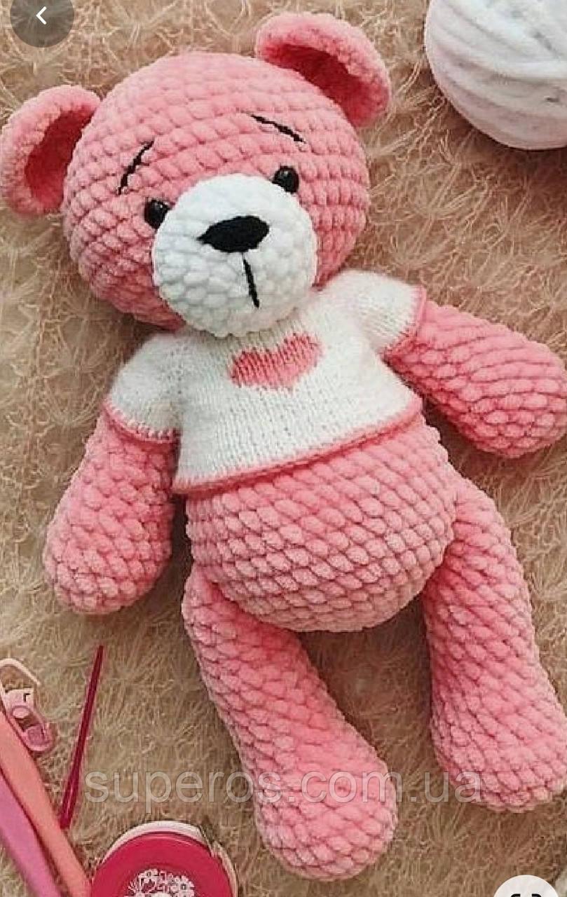 Вязаная игрушка Розовый мишка
