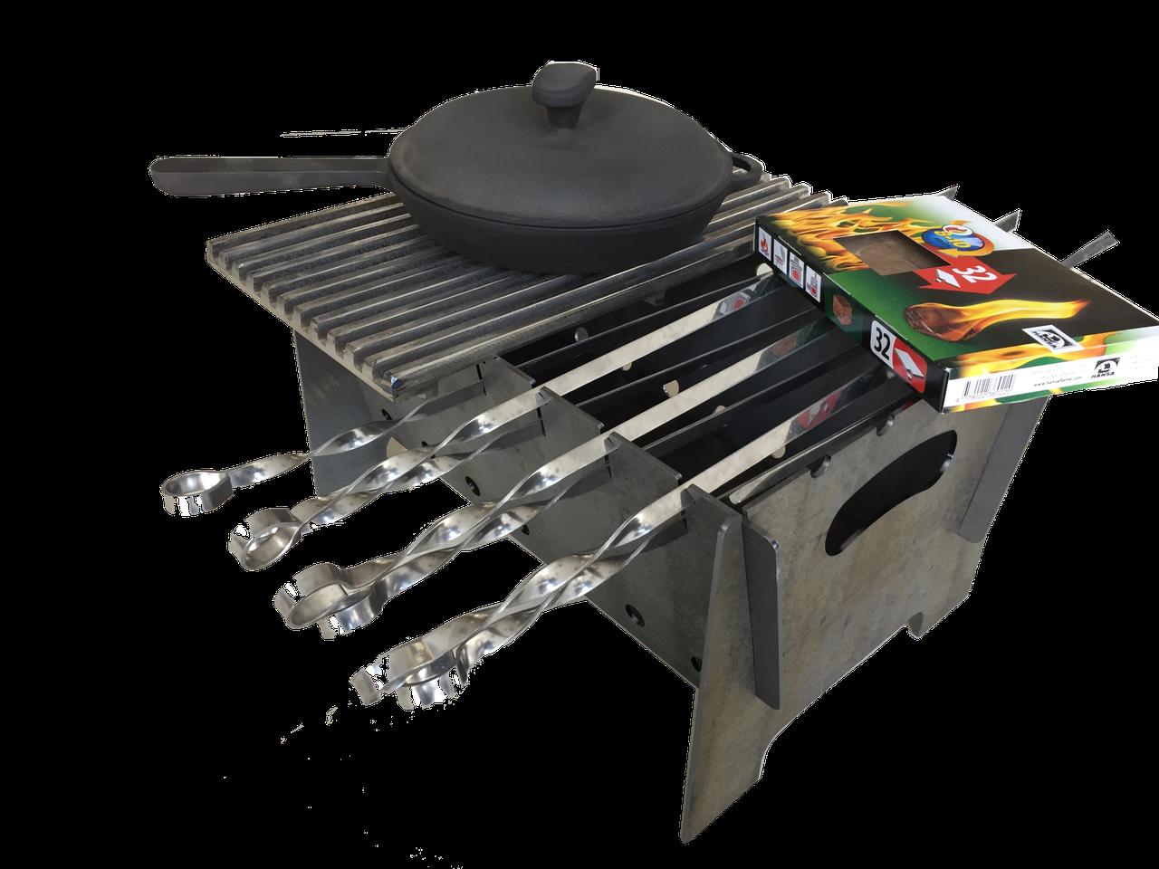 """Автомобильный мангал в комплекте с чугунной решеткой и сковородой """"Счастье есть"""" 400х300мм"""