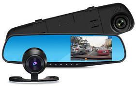 Автомобильный видео регистратор зеркало DVR 138W с двумя камерами DVR 4,3 дюйма