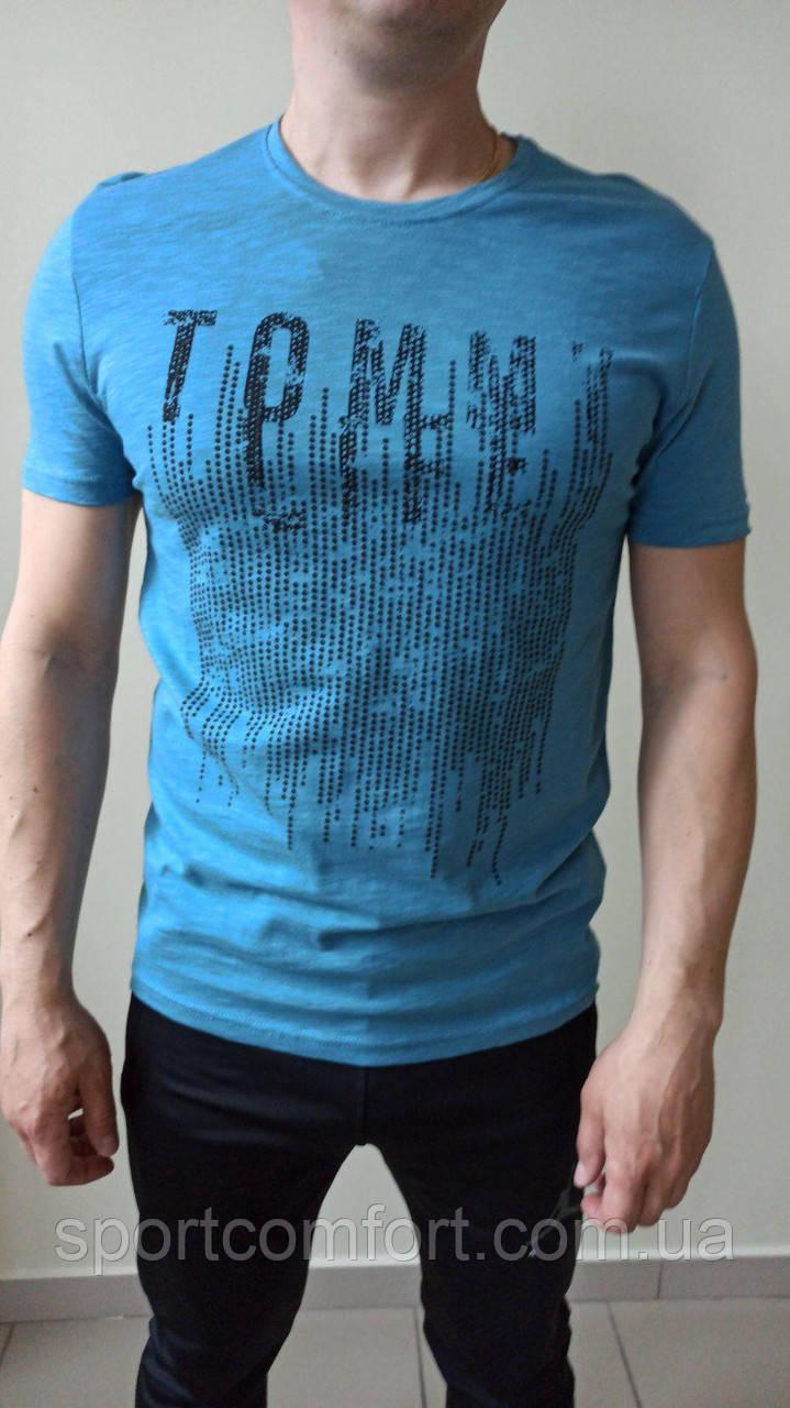 Футболка Tommy сіра, блакитна