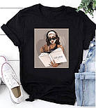 Жіноча стильна біла і чорна футболка з малюнками (різні малюнки), фото 2