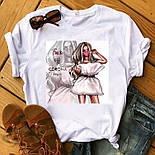 Жіноча стильна біла і чорна футболка з малюнками (різні малюнки), фото 4