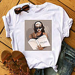 Жіноча стильна біла і чорна футболка з малюнками (різні малюнки), фото 5