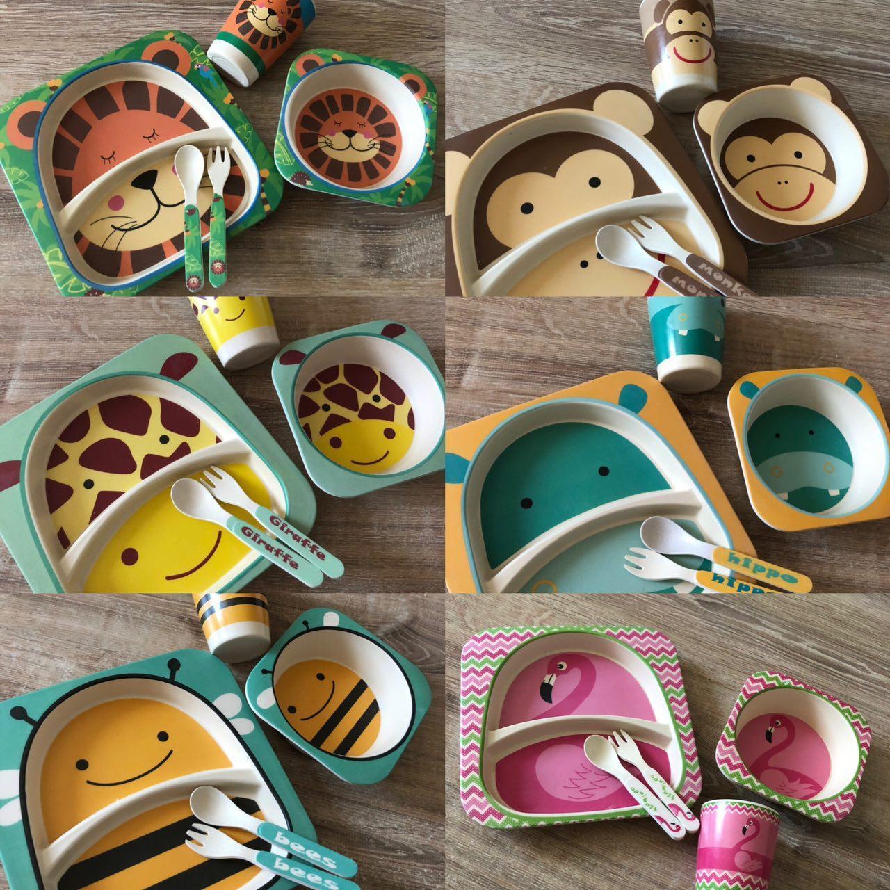 Набор детской бамбуковой посуды Elit LUX Baby 5 приборов, коллекция животных