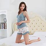 Комплект женский для дома и сна из 3х предметов атласный. Набор - халат, шорты, майка, р.  L, фото 6