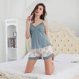 Комплект женский для дома и сна из 3х предметов атласный. Набор - халат, шорты, майка, р.  L, фото 7
