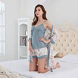 Комплект женский для дома и сна из 3х предметов атласный. Набор - халат, шорты, майка, р.  L, фото 4