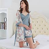 Комплект женский для дома и сна из 3х предметов атласный. Набор - халат, шорты, майка, р.  L, фото 3