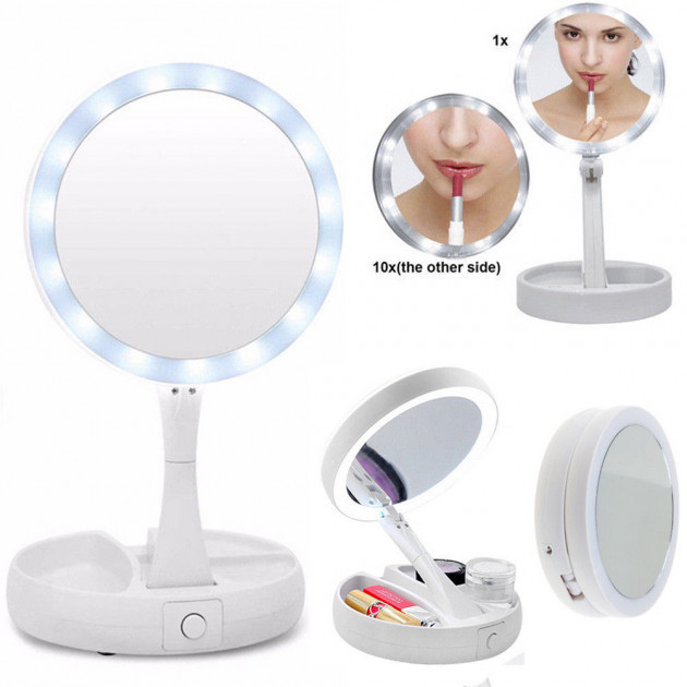 Настольное зеркало для макияжа Mirror My fold Away с LED подсветкой складное круглое