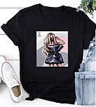 Женская стильная белая и черная футболка с рисунками (разные рисунки), фото 3