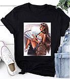 Женская стильная белая и черная футболка с рисунками (разные рисунки), фото 6