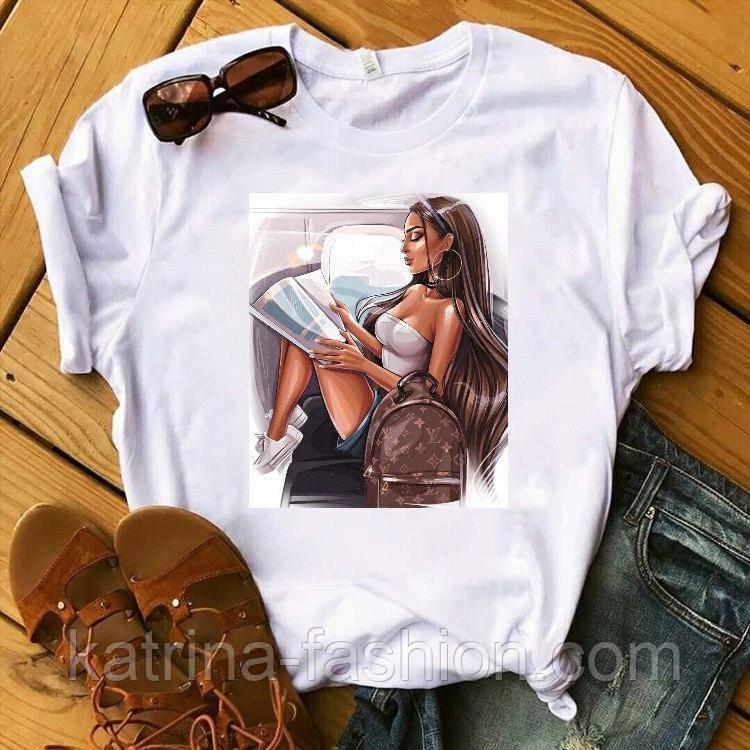 Женская стильная белая и черная футболка с рисунками (разные рисунки)