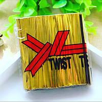 Фольгированная лента для упаковки десертов завязки на проволоке (золото) упак 700 шт